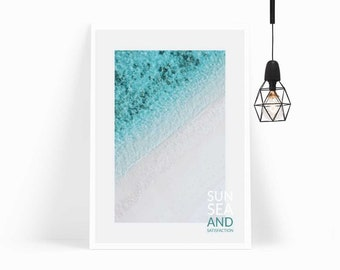 Sun Sea and Satisfaction, Ocean Wall Art, Nordic, Scandi, Calm Style Decor, Ocean Breeze for Gallery Walls–INSTANT DOWNLOAD