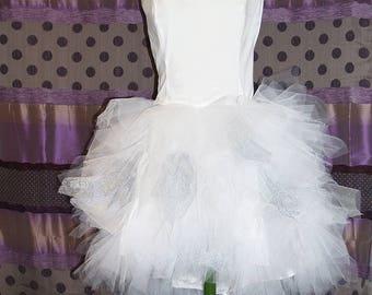 Asymmetrical model dress ruffles