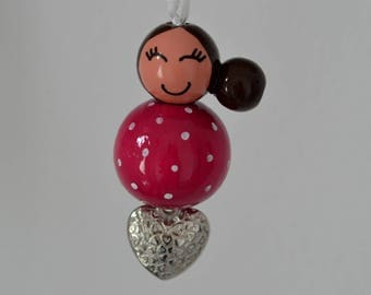 "Key fob or bag charm chip of love doll wooden ""pink"" color way"