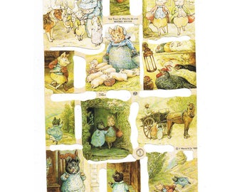 """Ephemera vintage (1990) """"Pigs, geese, roosters and horses"""" to decorate all carriers"""