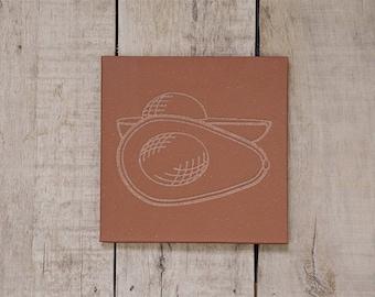 Tile Trivet/Trivet for Hot Dish/Engraved/Stone/Table Centerpiece/Housewarming/Kitchen Decor/Engraved Kitchen Ware/Avacado