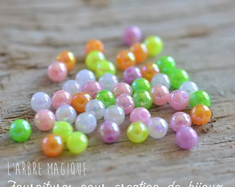 50 acrylic pearls round 4 mm mix color
