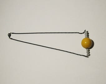 Graphic black and mustard yellow Bead Necklace