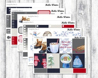 Hello Winter // Erin Condren Horizontal // Weekly Sticker Kit