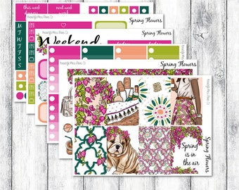 Spring Flowers // Classic Happy Planner // Weekly Sticker Kit // Spring Sticker Kit