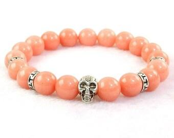 "10mm natural light pink jade beads energy stone stretchy skull bracelet 6 3/4"""