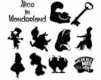Alice in Wonderlan Craft Vinyls 6cm Stickers