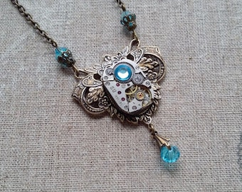 Pendant with watch mechanism steampunk necklace