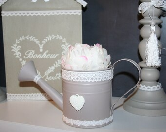 old watering can zinc shabby taupe lace heart and the Peony