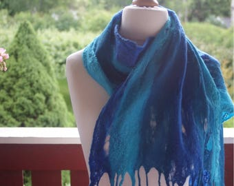 Felted Scarf Turquoise dreams of Merino Wool and Silk fibers Spider web Winter Accessoar Winter Neck Womans Fashion