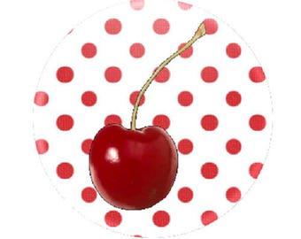 Cherry, 18mm, red polka dot background