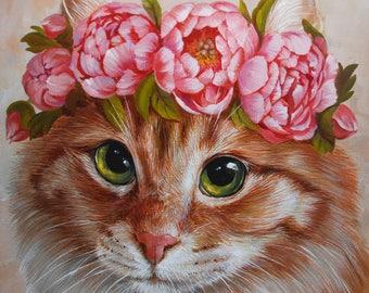 portrait of a cat c peonies