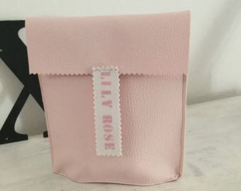 Pink faux leather pouch to taste