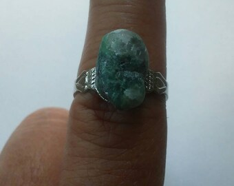Moss agate on adjustable band ring