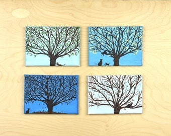 Spring, Summer, Autumn, Winter, Collection of Four Paintings, Tree Skyline, Landscape Painting, Acrylic