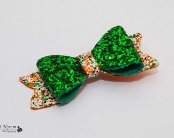 Green/orange glitter party hair bow clip