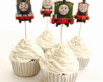 12x Thomas Train Engine Party Food Cupcake Cake Topper Pick. Party Supplies Bunting Lolly Loot Bags Favour Box