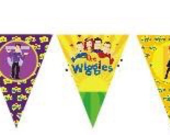 The Wiggles Party Birthday Bunting Banner Flags. Supplies Lolly Loot Bag Cake Invitation Room Decoration