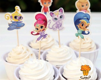 12x Shimmer and Shine Food Cupcake Cake Topper Pick. Party Supplies Bunting Lolly Loot Bags Favour