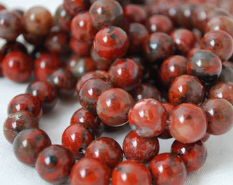 "High Quality Grade A Natural Brecciated Jasper (red) Semi-precious Gemstone Round Beads - 4mm, 6mm, 8mm, 10mm sizes - 16"" strand"