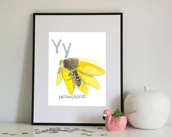 Y is for Yellowjacket, alphabet series - Print of Original Watercolour