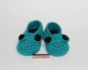 Green baby boy boots, baby shower gift, baby booties, crochet shoes, knit booties, crochet booties, newborn gift, newborn shoes, alicegem