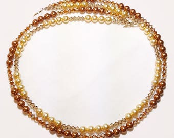 Gold Bronze Pearl Crystal Double Strand Bridal Wedding Necklace