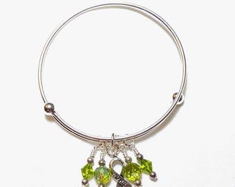 Lymphoma Cancer Adjustable Charm Bangle Bracelet