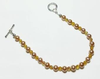 Peach Pearl Topaz Crystal Wedding Bridal Beaded Bracelet