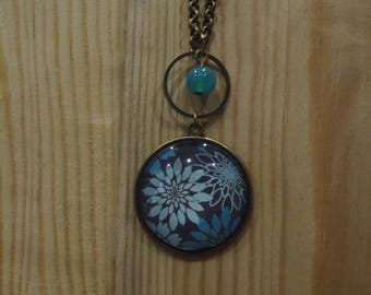 mid-long necklace, bronze, grey and blue