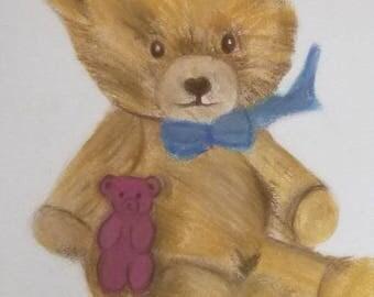 Teddy bear drawing in pastels dry format 24 X 32 cm