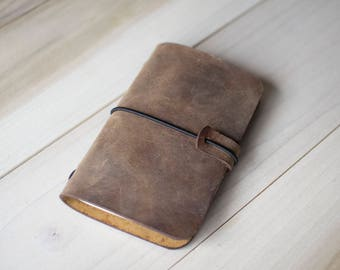 Rustic Leather Notebook Cover, Midori Style for Moleskine, A6, Field Notes