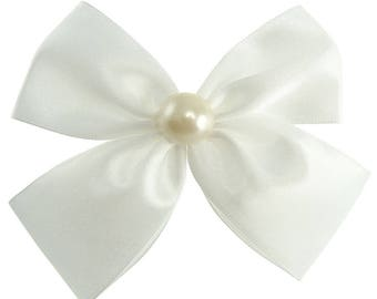 Clip hair bow tie wedding white satin communion bridesmaids and cabochon bead
