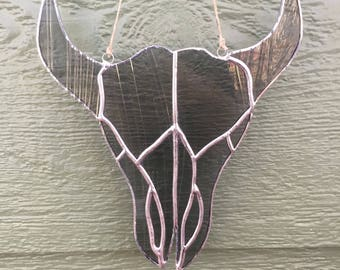 Stained Glass Bull Skull
