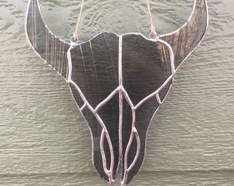 Stained Glass Bull Skull