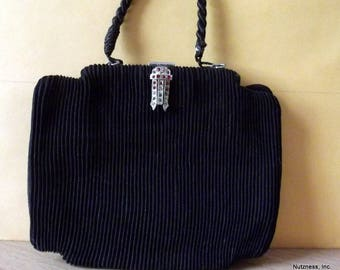 Vintage 1940's Black Pleated Purse
