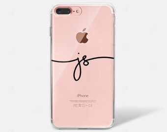 Custom Monogram Name Silicone Initial iPhone X Case iPhone 6 iPhone 7 iPhone 7 PLUS iPhone 6 PLUS iPhone 8 Samsung Galaxy S7 S8 Edge Clear