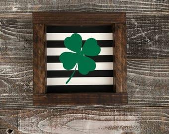 St. Patrick's Day shamrock wood sign