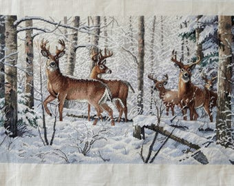 Deer in Forest - Completed Cross Stitch