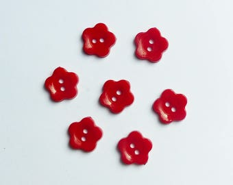 lot 7 flower buttons * Red * 1.2 cm plastic