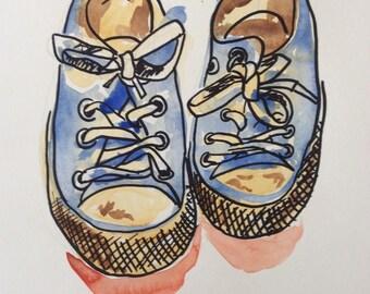 Original Sneaker Art, Sneaker Doodle, Sneaker Illustration, Shoe Art, Watercolor Painting, Quirky Watercolor Painting
