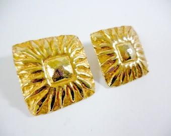 Jean Patou French Vintage Clip On Gold Gilt Couture Sunburst Earrings Signed Paris 1980s