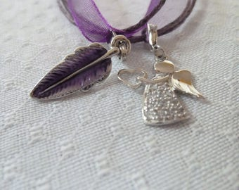Beautiful necklace with angel and feather Pendant