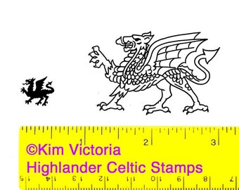 Wales Welsh Flag Dragons 2 Unmounted Rubber Stamps