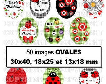 50 digital images for cabochon Ladybug luck lucky red green black - oval
