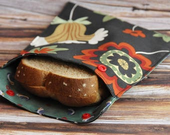 bag for sandwich, snack bag, lunch bag, sandwich bag, waterproof, reusable, zerodechet, crafted by hand, safe, hand made