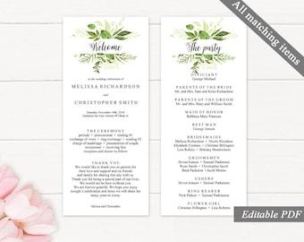 Greenery Wedding Program Template. Printable Wedding Program. Wedding Ceremony. Spring Leaves Wedding Program. Download Editable PDF