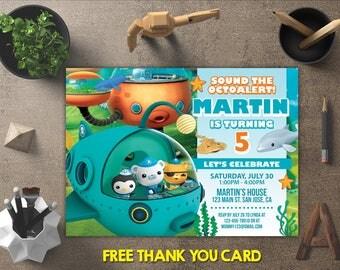 Octonauts Invitation, Octonauts Birthday, Octonauts Invites, Octonauts Printables, Octonauts Party, Octonauts Theme, FREE 4x6 Thank You Card