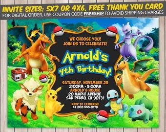 Pokemon Invitation, Pokemon Birthday, Pokemon Birthday Invitation, Pokemon Party, Pokemon Invite, Pokemon Printable, FREE 4x6 Thank You Card