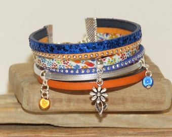 """""""The garden walk"""" Cuff Bracelet leather, with glitter and studded Suede, blue, orange and silver"""